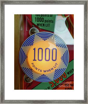 Pinball 1000 Points When Lit Framed Print