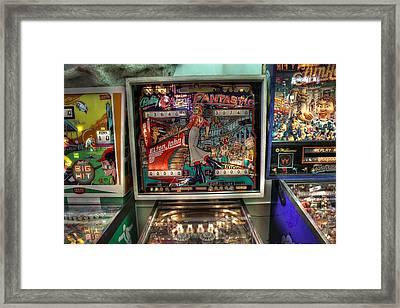 Pinball Elton John Bally Framed Print by Jane Linders