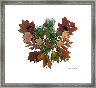 Framed Print featuring the digital art Pine And Leaf Bouquet by Lise Winne
