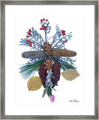 Framed Print featuring the digital art Pine Cone Bouquet by Lise Winne