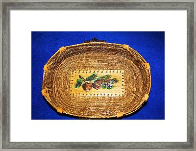 Pine Cone Pine Needle Basket Framed Print by Russell  Barton