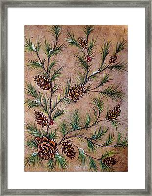 Pine Cones And Spruce Branches Framed Print