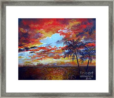 Framed Print featuring the painting Pine Island Sunset by Lou Ann Bagnall