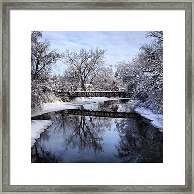 Pine River Foot Bridge From Superior In Winter Framed Print
