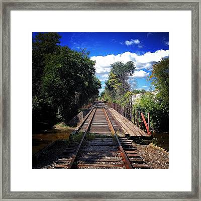 Pine River Railroad Bridge Framed Print