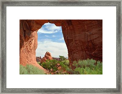 Pine Tree Arch In Utah Framed Print by Bruce Gourley
