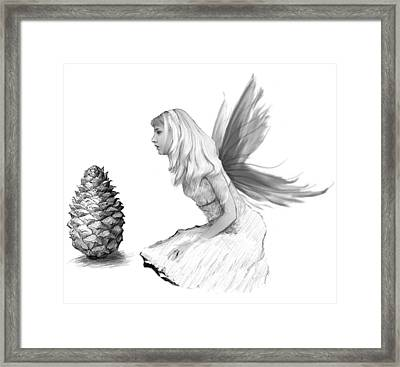Pine Tree Fairy With Pine Cone B And W Framed Print