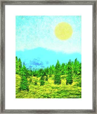 Pine Tree Mountain Blue - Shasta California Framed Print