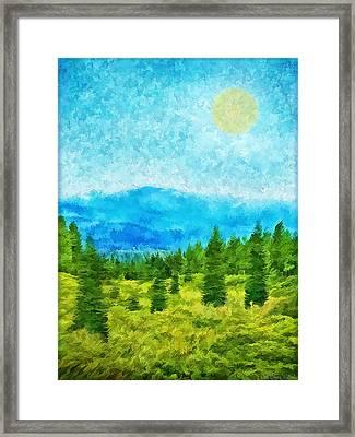 Pine Tree Mountain Blue - Shasta California Framed Print by Joel Bruce Wallach