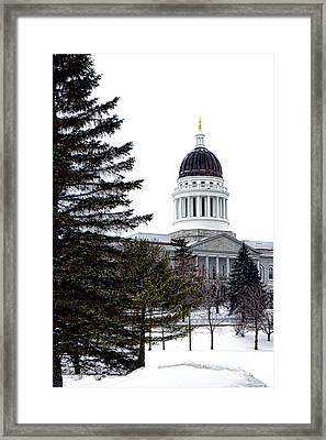 Pine Tree State Capitol In Winter Framed Print by Olivier Le Queinec