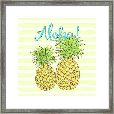 Pineapple Aloha Tropical Fruit Of Welcome Hawaii Framed Print by Tina Lavoie