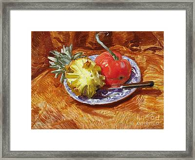 Pineapple And Tomato Framed Print