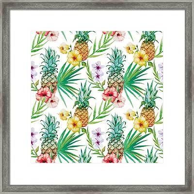 Pineapple And Tropical Flowers Framed Print