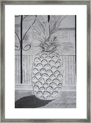 Pineapple In Window Framed Print