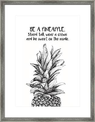 Framed Print featuring the drawing Pineapple by Nancy Ingersoll