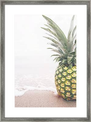 Pineapple On The Beach Framed Print