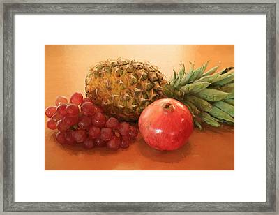 Pineapple Pomegranate Grapes Framed Print by Donna Kennedy