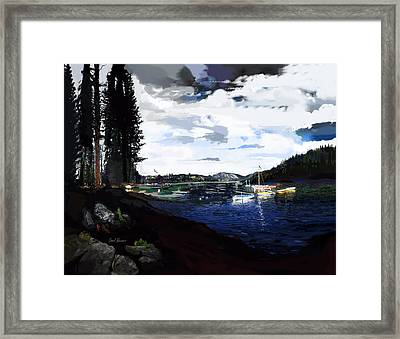Pinecrest And Boats Framed Print