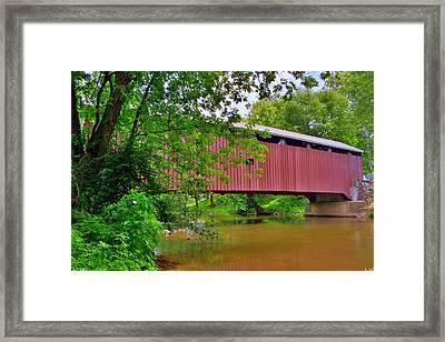 Pinetown Bushong's Mill Covered Bridge Framed Print by Lisa Wooten