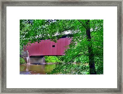 Pinetown Covered Brdige Framed Print by Lisa Wooten