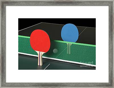 Ping Pong Paddles On Table, Standing Upright Framed Print