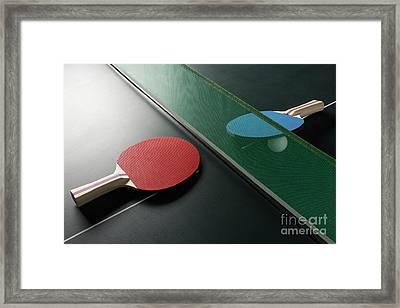 Ping Pong Paddles On Table With Net, Harsh Light Framed Print