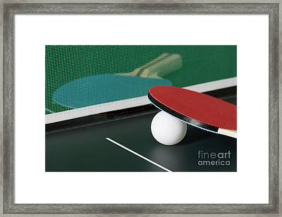 Ping Pong Paddles On Table With Net Framed Print