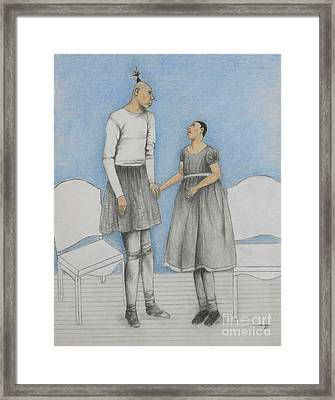 Pinhead Friends -- Portrait Of 2 Developmentally Disabled Men Framed Print