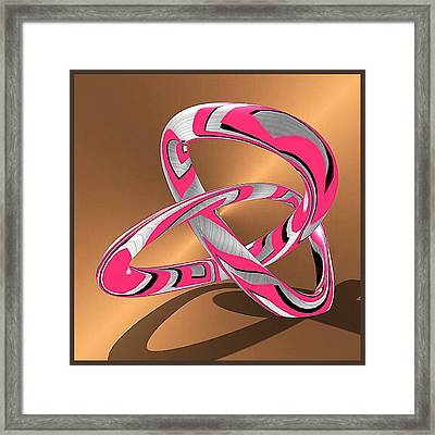 Pink Abstract On Gold Framed Print