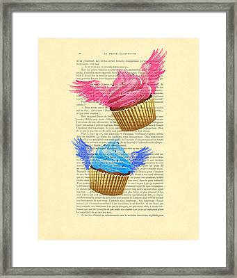 Pink And Blue Cupcakes Vintage Dictionary Art Framed Print