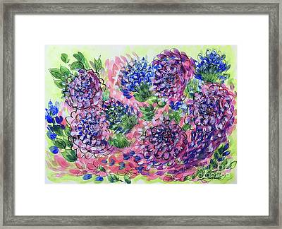 Pink And Blue Flower Flurry Framed Print