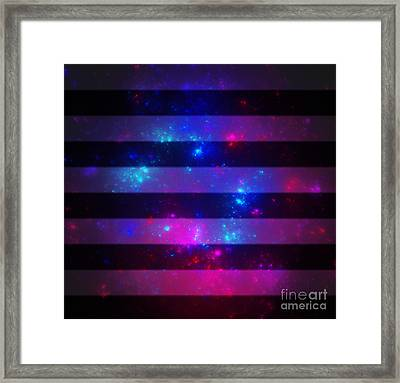 Pink And Blue Striped Galaxy Framed Print