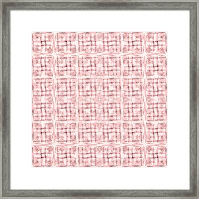 Pink And Brown Geometric Shapes In Blocked Pattern Framed Print by Gina Lee Manley