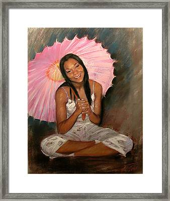 Pink And Brown Framed Print by Ylli Haruni