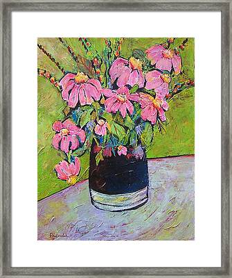 Pink And Green Framed Print by Blenda Studio