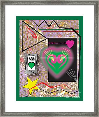 Framed Print featuring the digital art Pink And Green Heart Design by Christine Perry