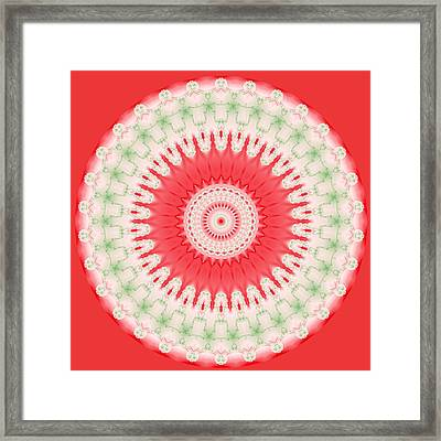 Pink And Green Mandala Fractal 001 Framed Print