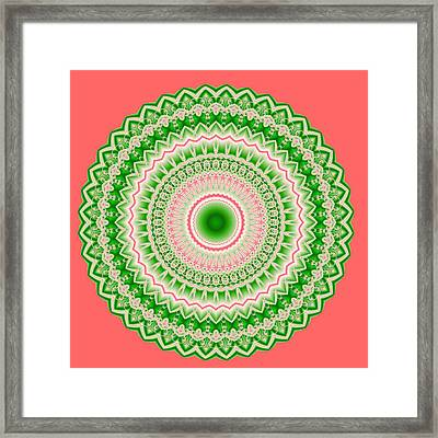 Pink And Green Mandala Fractal 002 Framed Print