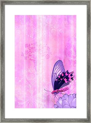 Pink And Purple Butterfly Companions 2 Framed Print