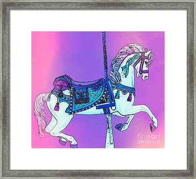 Pink And Purple Carousel Horse Framed Print