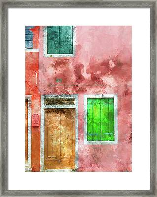 Pink And Red House In Burano Italy Near Venice Framed Print by Brandon Bourdages
