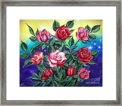 Pink And Red Roses Framed Print by Sofia Metal Queen