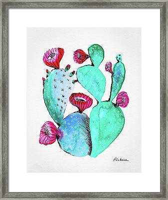 Pink And Teal Cactus Framed Print