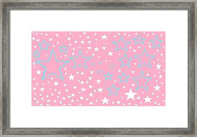 Pink And Turquoise Stars 1 Framed Print by Linda Velasquez