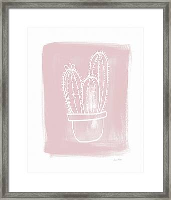 Pink And White Cactus- Art By Linda Woods Framed Print