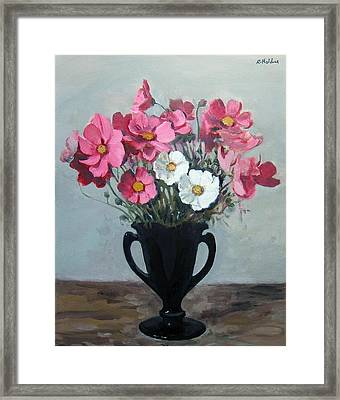Pink And White Cosmos In Black Milk Glass Vase Framed Print