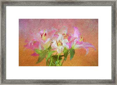 Framed Print featuring the photograph Pink And White Lilies by Bellesouth Studio