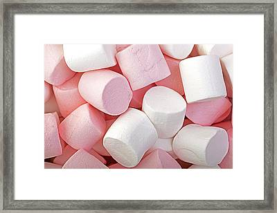 Pink And White Marshmallows Framed Print