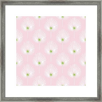 Pink And White Palm Leaves- Art By Linda Woods Framed Print