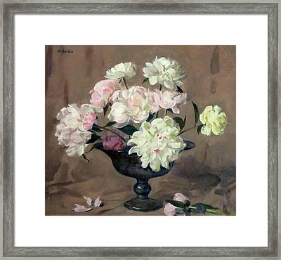 Pink And White Peonies In Footed Silver Bowl Framed Print